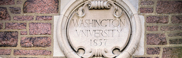 Photo of Brookings Hall Seal: Washington University 1857