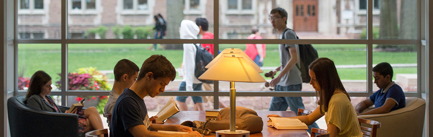 View of Students in Olin Library