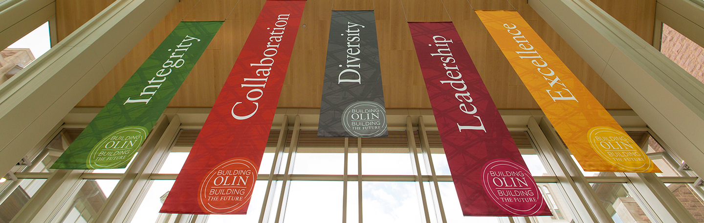 Photo of Olin Banners: Integrity, Collaboration, Diversity, Leadership, Excellence